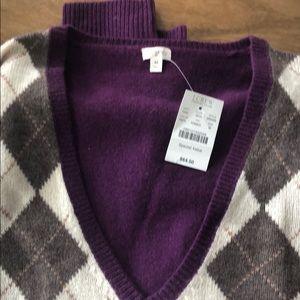 J. Crew Factory V-neck Argyle Sweater